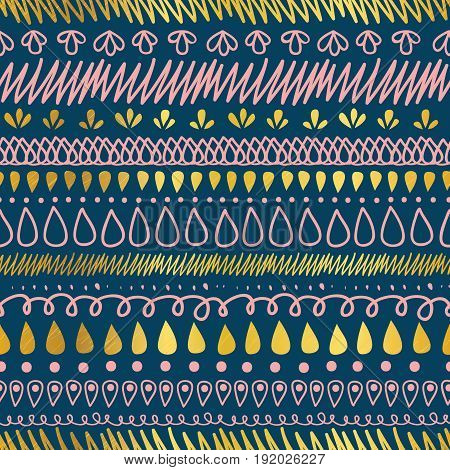 Vector Gold, Navy Blue, and Pink Decorative Ikat Stripes Abstract Seamless Repeat Pattern Background. Great for handmade cards, invitations, wallpaper, packaging, wedding designs. Pattern design.