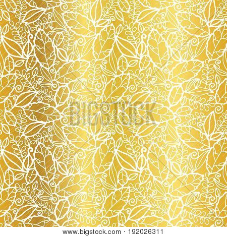 Vector gold and white leaves texture seamless repeat pattern background. Great for spring and summer fabric, scrapbooking, wallpaper, fall wedding projects. Surface pattern design.