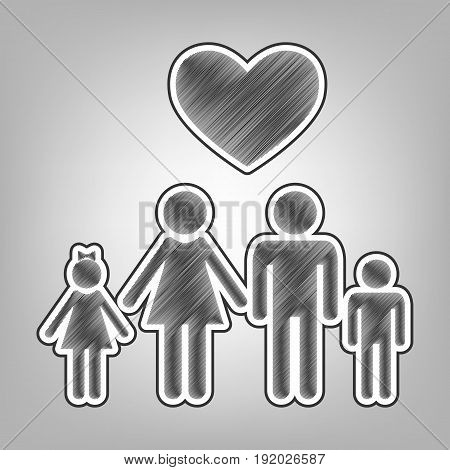 Family symbol with heart. Husband and wife are kept children's hands. Love. Vector. Pencil sketch imitation. Dark gray scribble icon with dark gray outer contour at gray background.