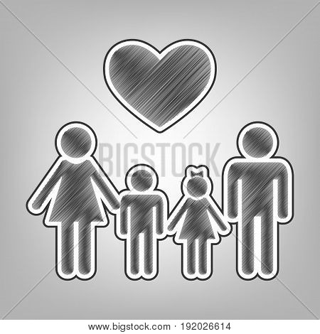 Family symbol with heart. Husband and wife are kept children's hands. Vector. Pencil sketch imitation. Dark gray scribble icon with dark gray outer contour at gray background.