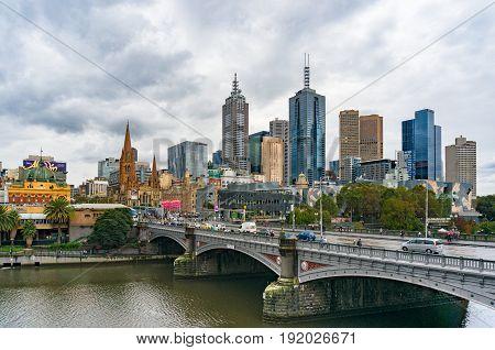 Melbourne Cbd View With Historic Princes Bridge Over Yarra River
