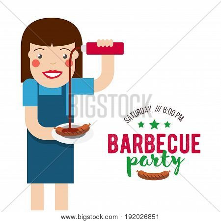 Barbecue party cartoon people for flyer or invite card.