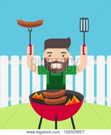 Smiling man cooking barbecue outdoor. Summer picnic concept.