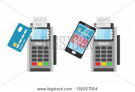 Wireless Payment by credit card using POS terminal and smartphone.