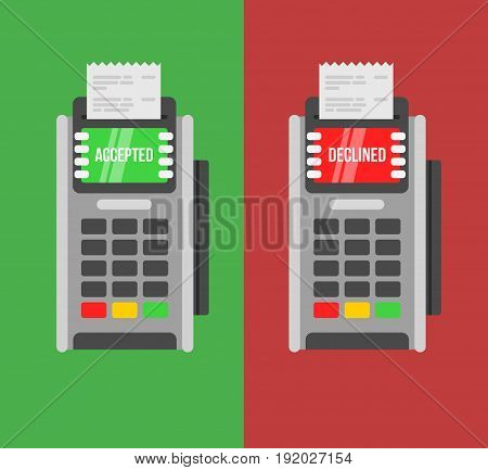 POS Payment terminals with Rejected and approved payment text concepts.