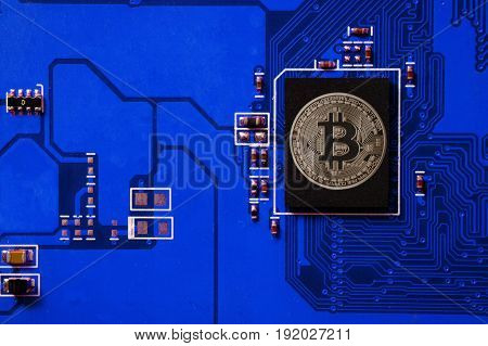 Closeup Of Bitcoin  Circuit Board With Bitcoin Processor
