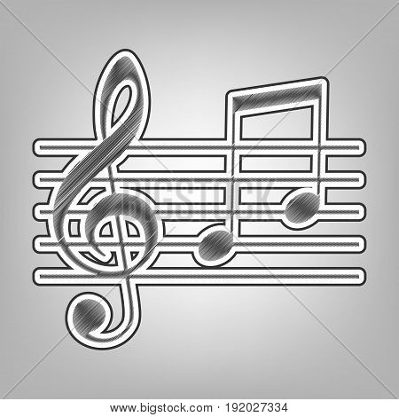 Music violin clef sign. G-clef and notes G, H. Vector. Pencil sketch imitation. Dark gray scribble icon with dark gray outer contour at gray background.