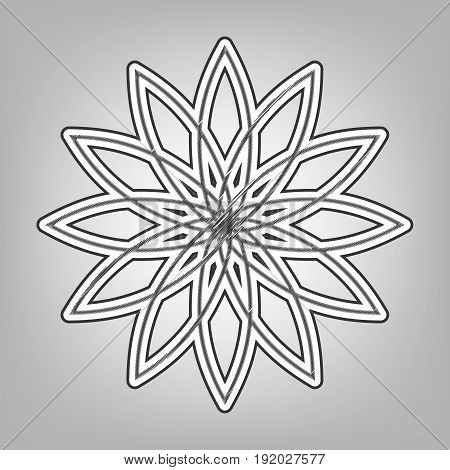Flower sign. Vector. Pencil sketch imitation. Dark gray scribble icon with dark gray outer contour at gray background.
