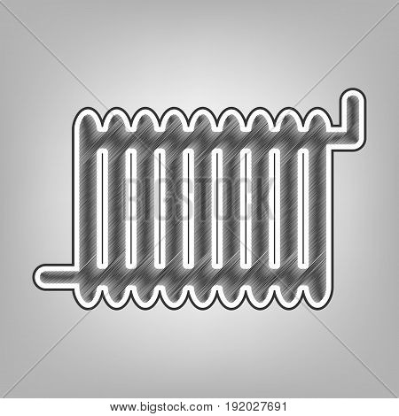 Radiator sign. Vector. Pencil sketch imitation. Dark gray scribble icon with dark gray outer contour at gray background.