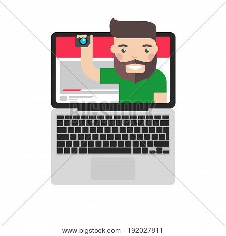 Video blogger vector illustration. Vlogger broadcasting on personal channel in web.