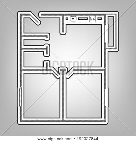 Apartment house floor plans. Vector. Pencil sketch imitation. Dark gray scribble icon with dark gray outer contour at gray background.
