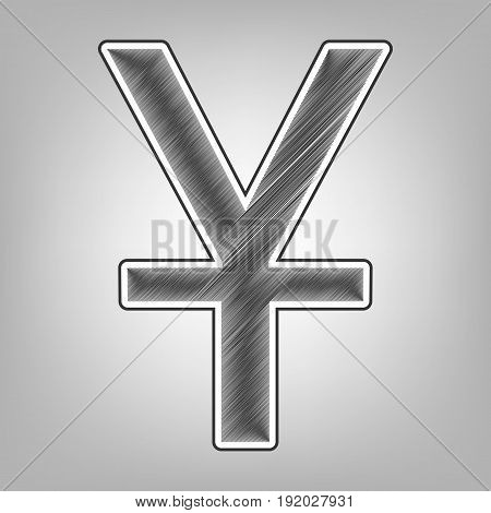 Chinese Yuan sign. Vector. Pencil sketch imitation. Dark gray scribble icon with dark gray outer contour at gray background.