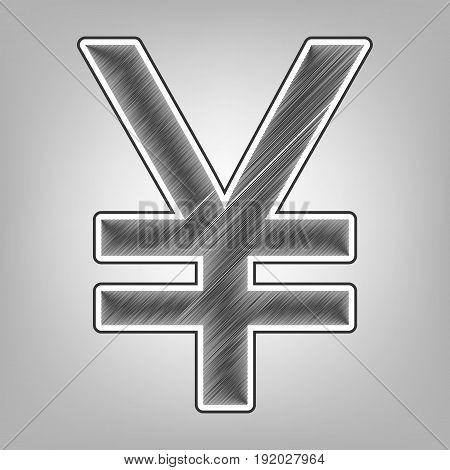 Yen sign. Vector. Pencil sketch imitation. Dark gray scribble icon with dark gray outer contour at gray background.
