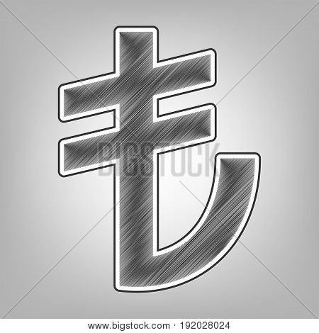Turkiey Lira sign. Vector. Pencil sketch imitation. Dark gray scribble icon with dark gray outer contour at gray background.