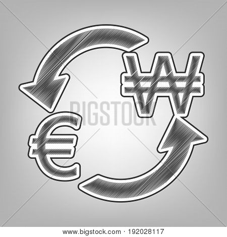 Currency exchange sign. Euro and South Korea Won. Vector. Pencil sketch imitation. Dark gray scribble icon with dark gray outer contour at gray background.