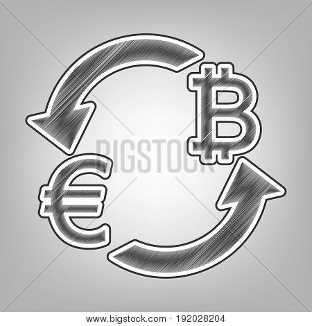 Currency exchange sign. Euro and Bitcoin. Vector. Pencil sketch imitation. Dark gray scribble icon with dark gray outer contour at gray background.