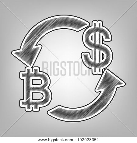Currency exchange sign. Bitcoin and US Dollar. Vector. Pencil sketch imitation. Dark gray scribble icon with dark gray outer contour at gray background.