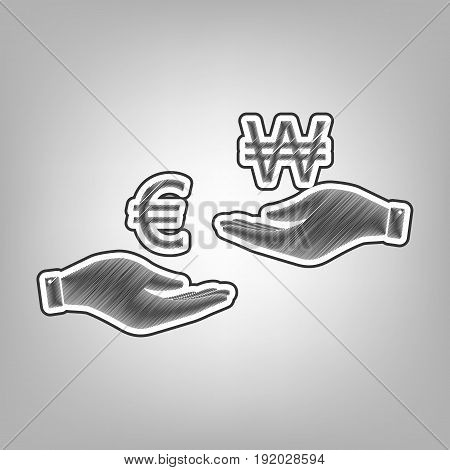 Currency exchange from hand to hand. Euro and Won. Vector. Pencil sketch imitation. Dark gray scribble icon with dark gray outer contour at gray background.