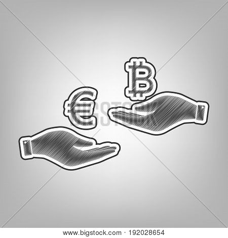 Currency exchange from hand to hand. Euro an Bitcoin. Vector. Pencil sketch imitation. Dark gray scribble icon with dark gray outer contour at gray background.