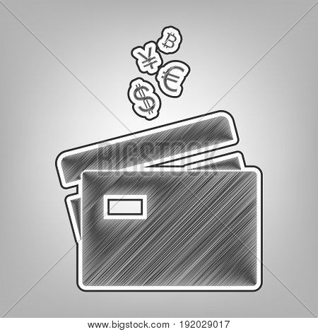 Credit cards sign with currency symbols. Vector. Pencil sketch imitation. Dark gray scribble icon with dark gray outer contour at gray background.
