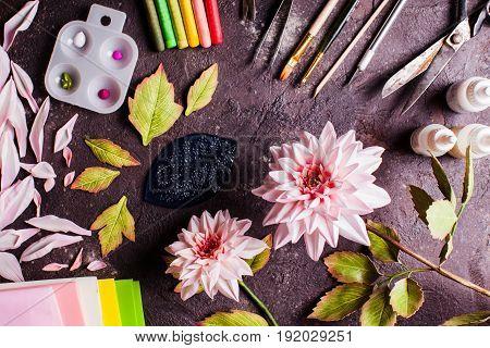 Handmade DIY making realistic flowers from foam