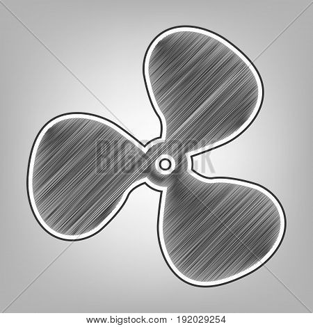 Fan sign. Vector. Pencil sketch imitation. Dark gray scribble icon with dark gray outer contour at gray background.