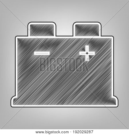 Car battery sign. Vector. Pencil sketch imitation. Dark gray scribble icon with dark gray outer contour at gray background.