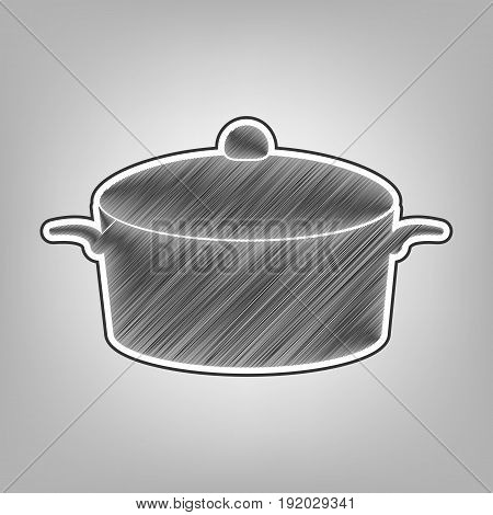 Pan sign. Vector. Pencil sketch imitation. Dark gray scribble icon with dark gray outer contour at gray background.