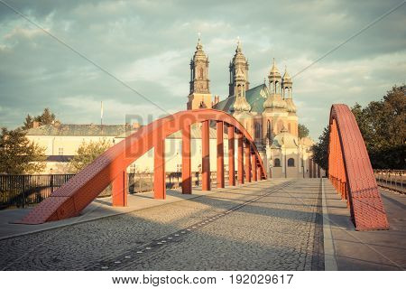 Poznan, Poland - June 29, 2016: Vintage Photo, Old Bridge And Cathedral Church In Poznan On Ostrow T