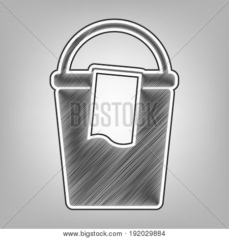 Bucket and a rag sign. Vector. Pencil sketch imitation. Dark gray scribble icon with dark gray outer contour at gray background.