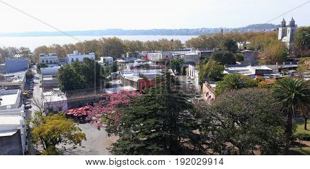 Panoramic view from the lighthouse of historic neighborhood in Colonia del Sacramento, Uruguay