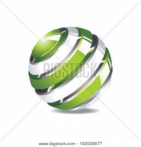 Abstract web icon of globe or vector globe logo element. Symbol of globalization. 3D design illustration. Vector rotating globe.
