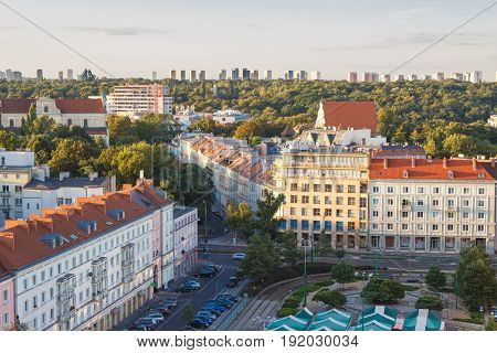 Poznan, Poland - August 30, 2016: View On Old And Modern Buildings At Sunset In Poznan