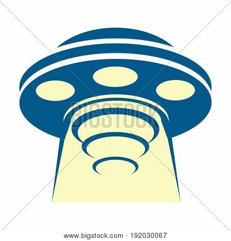 Vector Cartoon Retro Flying saucer UFO Sucking up Object with Light Beam