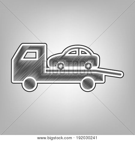 Tow car evacuation sign. Vector. Pencil sketch imitation. Dark gray scribble icon with dark gray outer contour at gray background.