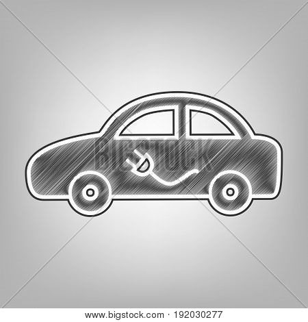 Electric car sign. Vector. Pencil sketch imitation. Dark gray scribble icon with dark gray outer contour at gray background.