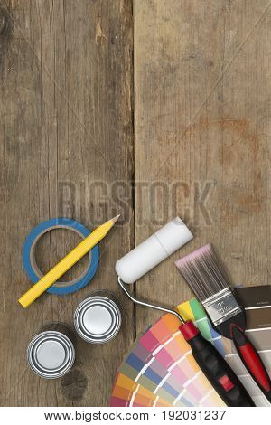 Painting Supplies And Swatches On Wood With Copy Space