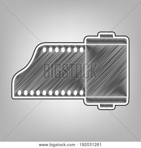 Old photo camera casset sign. Vector. Pencil sketch imitation. Dark gray scribble icon with dark gray outer contour at gray background.