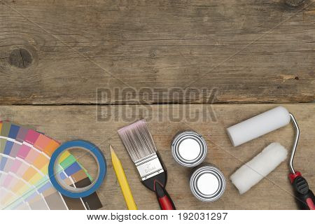 Banner Image Of Painting Tools And Supplies On Wooden Background