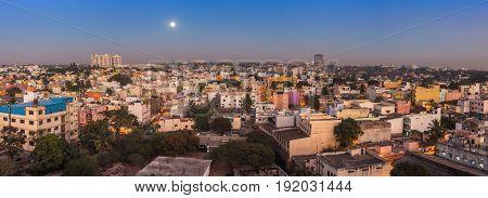 Bangalore City Skyline Panorama In Resident Zone At Night, Bangalore, India