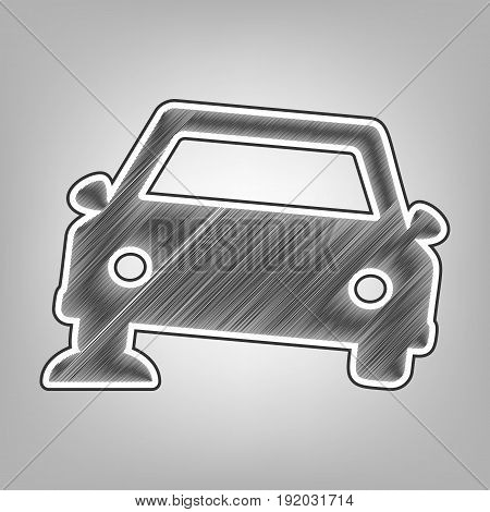 Car parking sign. Vector. Pencil sketch imitation. Dark gray scribble icon with dark gray outer contour at gray background.