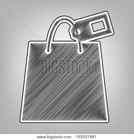 Shopping bag sign with tag. Vector. Pencil sketch imitation. Dark gray scribble icon with dark gray outer contour at gray background.