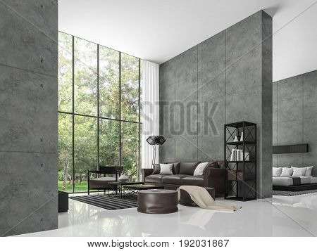Modern loft living room and bedroom 3d rendering image The room has a high ceiling. There is a polished concrete wall. White floors and large windows overlook the garden