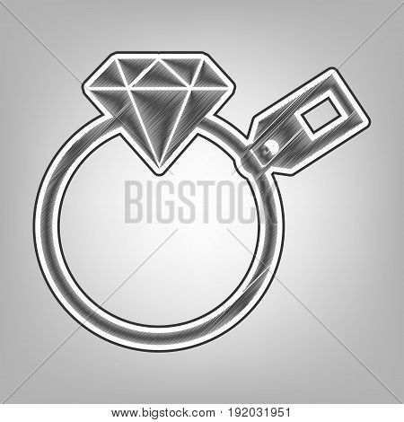 Diamond sign with tag. Vector. Pencil sketch imitation. Dark gray scribble icon with dark gray outer contour at gray background.
