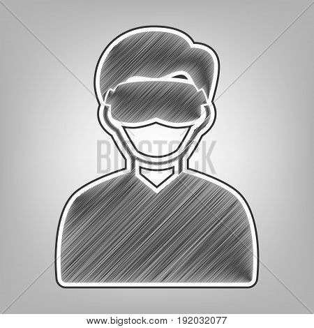 Man with sleeping mask sign. Vector. Pencil sketch imitation. Dark gray scribble icon with dark gray outer contour at gray background.