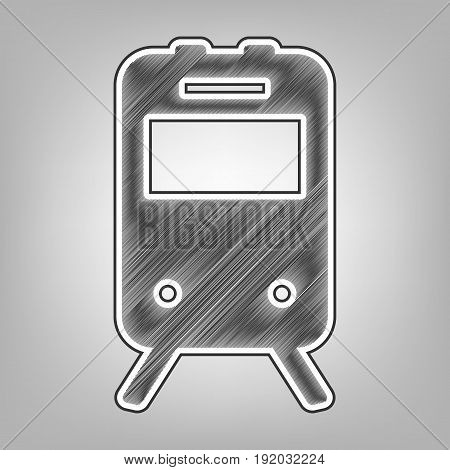 Train sign. Vector. Pencil sketch imitation. Dark gray scribble icon with dark gray outer contour at gray background.