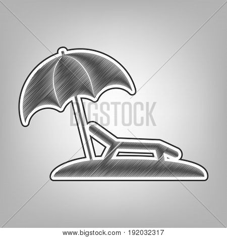 Tropical resort beach. Sunbed Chair sign. Vector. Pencil sketch imitation. Dark gray scribble icon with dark gray outer contour at gray background.