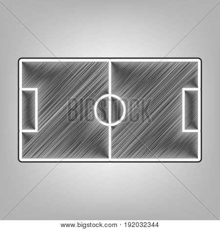 Soccer field. Vector. Pencil sketch imitation. Dark gray scribble icon with dark gray outer contour at gray background.