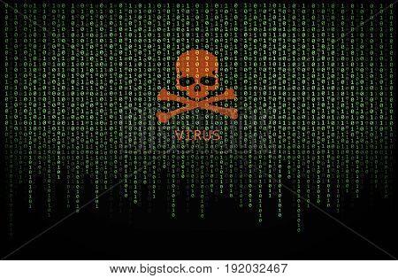 Red skull virus on green binary computer code background