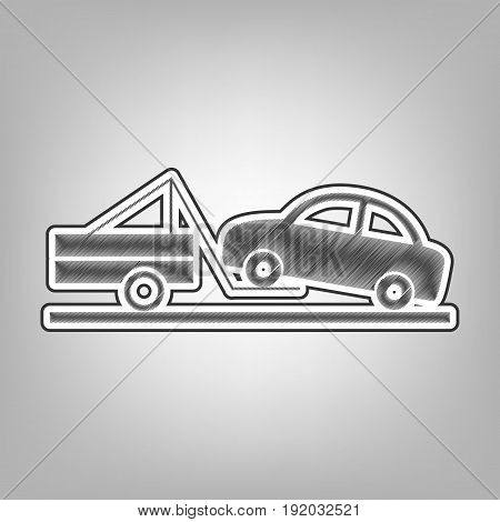 Tow truck sign. Vector. Pencil sketch imitation. Dark gray scribble icon with dark gray outer contour at gray background.